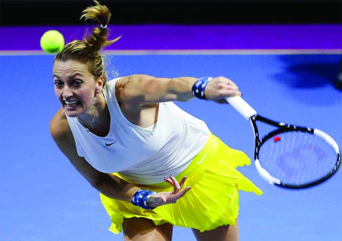 Petra Kvitova of Czech Republic, returns the ball to Alison van Uytvanck of Belgium, during the St. Petersburg Ladies Trophy-2020 tennis tournament match at St.Petersburg in Russia on Thursday.