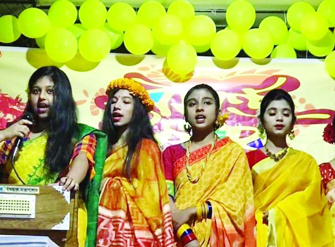 KISHOREGANJ:  SV Government Girls' School arranged a cultural programme on at its campus on the occasion of the Pahela Falgun and Valentine's  Day on Friday.