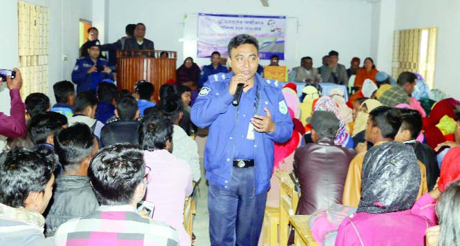 FULBARI(Dinajpur): Mia Mohammad Ashish Bin- Hasan, Additional Police Super , Fulbaria Circle speaking at an awareness building meeting at Shaheed Smriti Adarsha College as Chief Guest  yesterday.