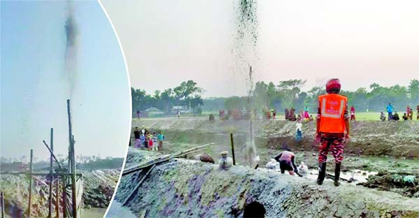 Gas gushing out as high in the air at Bharashima area of Satkhira district during the installation of a deep tube well on Monday.