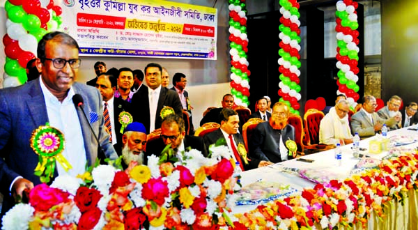 Member of Taxes Appellate Tribunal Duel Bench-5, Dhaka Dr Sazzad Hossain Bhuiyan speaking at the orientation ceremony of Greater Cumilla Youth Taxex Lawyers Association in the auditorium of Central Kachi Kanchar Mela in the city on Wednesday.
