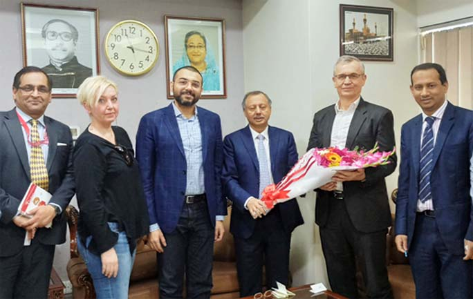 Mahbubul Alam, President, Chattogram Chamber of Commerce and Industry greeting  business delegation of Austria at his office recently.