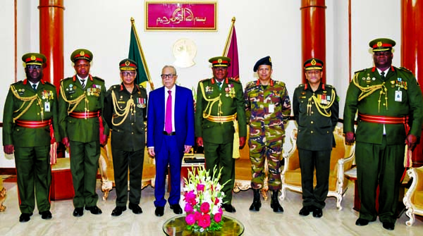 President Md. Abdul Hamid poses for a photo session with Zambian delegation led its Army Commander Lt. General William Manipambe Sikazwe when they called on President at Bangabhaban on Thursday.