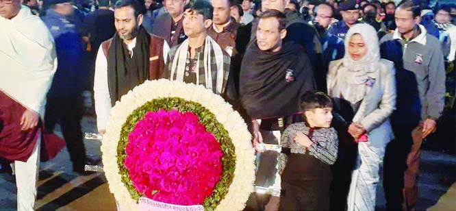 NILPHAMARI: Md Hafizur  Rahman Chowdhury, DC, Nilphamari and Dewan Kamal  Ahmed, Mayor, Nilphamari Municipality placing wreaths at the Shaheed Minar on the occasion of the Shaheed Dibash and the International Mother Language Day on Friday.