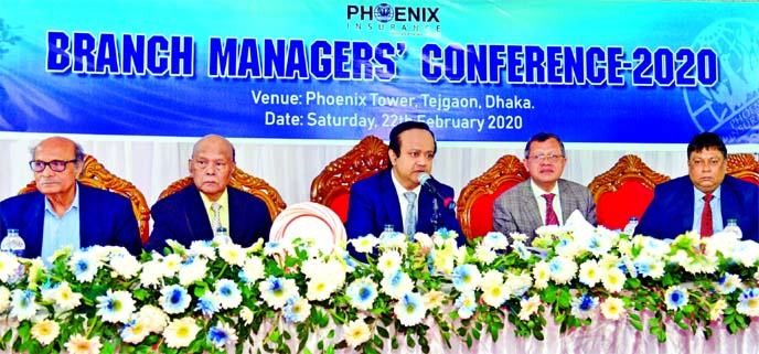 Mohammed Shoeb, Chairman of Phoenix Insurance Company Limited, presiding over its 'Branch Managers' Conference' at a hotel in the city recently. Deen Mohammad, Mohammed Haider Ali, Directors and Md. Jamirul Islam, CEO of the company, were also present.