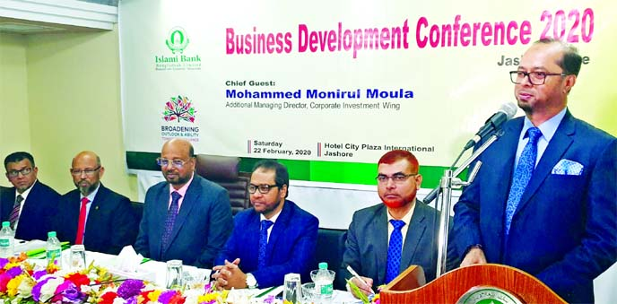 Mohammed Monirul Moula, AMD of Islami Bank Bangladesh Limited, addressing the 'Business Development Conference' organized by Jashore Zone at a local hotel of the city on Saturday. Abu Reza Md. Yeahia, DMD and Md. Maksudur Rahman, Jashore Zonal Head of the bank, were also present.