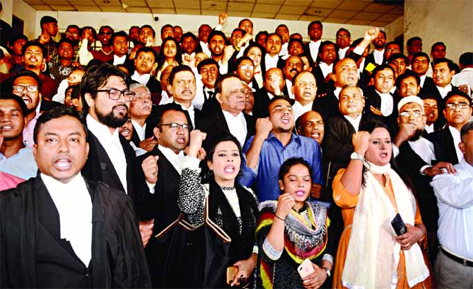 Pro-BNP lawyers staged demonstration on the High Court premises on Sunday demanding release of ailing BNP Chairperson Khaleda Zia as court defers hearing to Thursday on bail plea.