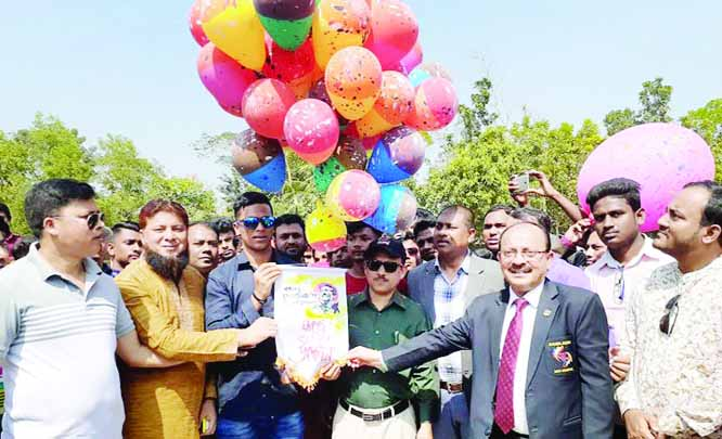 FENI:  Md Wahiduzzaman, DC, Feni and cricketer Md Saif Uddin of National Cricket Team inaugurating Bangabandhu Gold Cup Cricket Tournament in Feni on Sunday.