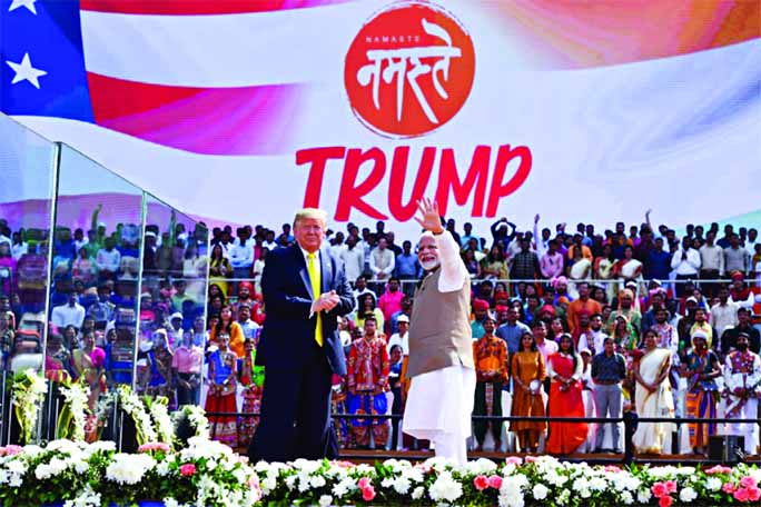 Trump heaped praise on Modi as an 'a great champion of India' in front of a crowd of around 100,000 at the world's biggest cricket stadium.