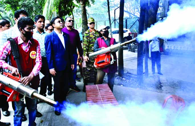 Mohammad Sayeed Khokon, Mayor of Dhaka South City Corporation formally opening the crash programme to eliminate Aedes Mosquitoes in city's Kalabagan area on Tuesday.