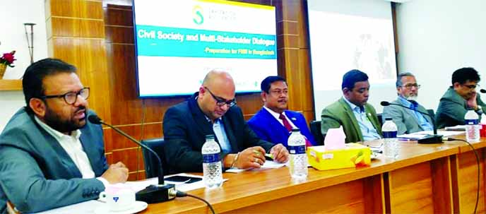 Siddhartha Das, Regional Coordinator for Asia and Pacific of Sanitation and Water for All (SWA), presiding over a roundtable discussion on 'Civil Society and Multi-Stakeholder Dialogue: Preparation for FMM in Bangladesh' at YWCA Bhaban in the city held on Tuesday.