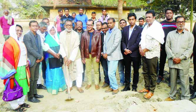 NAOGAON: Alhaj Sirajul Islam Khan Raju, Chairman, Adamdighi Upazila laying the foundation stone of Bangabandhu Mural  at Upazila Administration Office on Tuesday. Among others, AKM Abdullah Bin Rashid, Upazila Executive Officer and Sajedur Rahman, Upazila Engineer  were present .