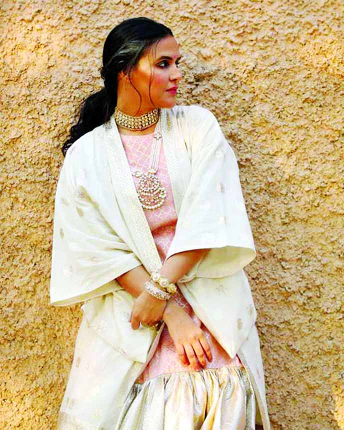 Neha Dhupia looks glamorous in this Pooja Shroff outfit