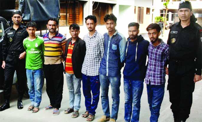 Members of RAB-11 nabbed seven persons of a thief gang by conducting raid at Noapara area of Rupganj in Narayanganj on Thursday.