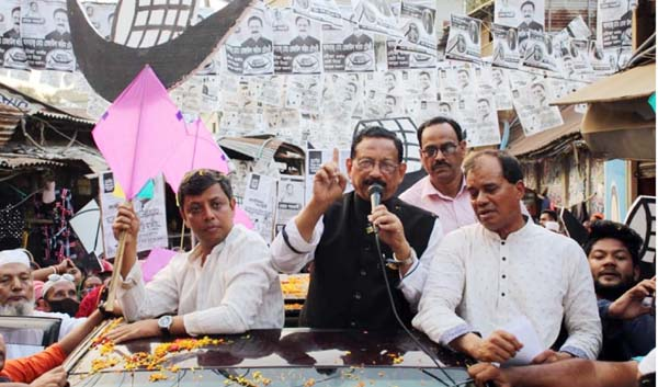 Awami League nominated Mayor candidate Rezaul Karim Chowdhury addressing a public rally at the Port City recently.
