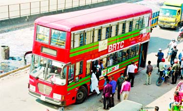 Bangladesh Road Transport Corporation (BRTC) launches bus service for government employees and health professionals amid halt in public transport service in the city. This snap was taken from Jatrabari area on Sunday.