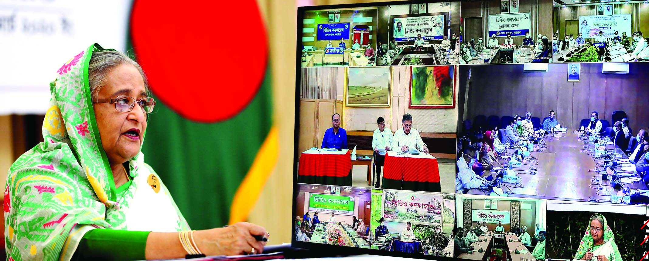 Prime Minister Sheikh Hasina speaking with field level officials through video conferencing from Ganobhaban on Tuesday with a view to coordinating ongoing activities to prevent coronavirus.