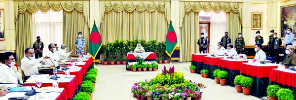 Prime Minister Sheikh Hasina presiding over the Cabinet meeting at Ganobhaban in the city on Monday.