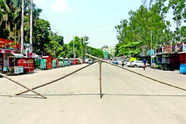 Some areas of Narayanganj city put under lockdown after eleven people were tested coronavirus positive. This picture was taken from city's Khanpur area on Monday.