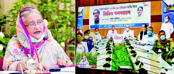 Prime Minister Sheikh Hasina speaking at an opinion sharing meeting with the representatives of 15 districts of Sylhet and Chattogram division on the present situation of coronavirus through video conferencing from Ganobhaban in the city on Tuesday.