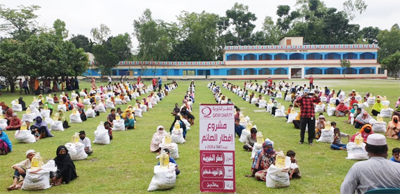 Qatar charity Dhaka office distributes food items among poor
