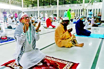 Thousands of devotees attend the Jumatul Wida, the last Friday of the holy month of Ramadan, prayers at Baitul Mukarram National Mosque in the capital, seeking divine blessings for peace and progress of Bangladesh and unity of the Muslim Ummah.