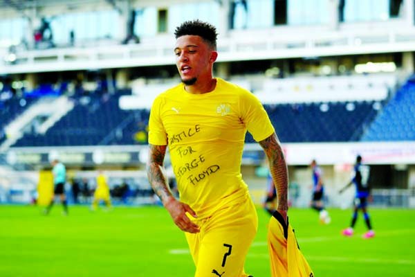 Sancho nets hat-trick, joins US killing protest as Dortmund cruise