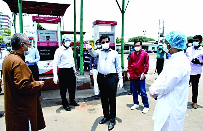 Mayor of Dhaka South City Corporation Sheikh Fazle Nur Taposh visits Fulbaria Stop Over Terminal and a filling station run by the corporation. The snap was taken from the city's Sayedabad area on Wednesday.