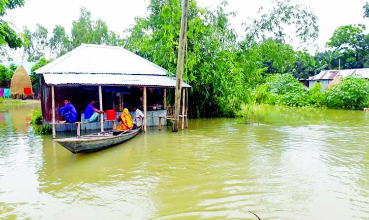 Flood situation worsens in Sunamganj, Bogura, Gaibandha, Kurigram, Nilphamari Thousands marooned: Houses, crop fields submerged