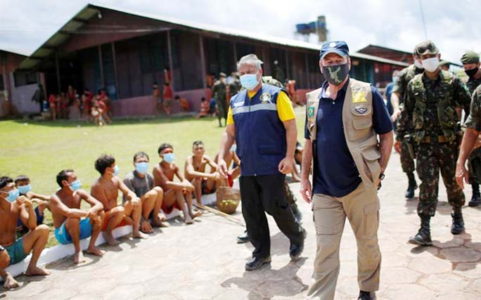 Brazil military handout masks to protect isolated Amazon tribes