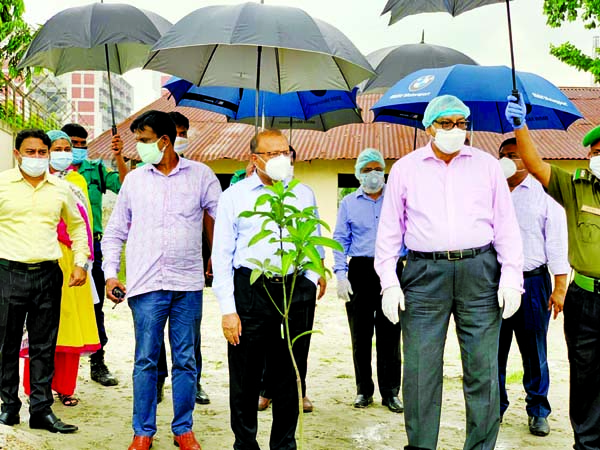 Md Tajul Islam, Minister for Local Government, Rural Development and Co-operatives and Taqsem A Khan, Managing Director of Dhaka Water Supply and Sewerage Authority (WASA) jointly inaugurating tree plantation programme at the Syedabad Water Treatment Plant (Phase-3) area in Dhaka on the occasion of birth centenary of the Father of the Nation Bangabandhu Sheikh Mujibur Rahman on Sunday.