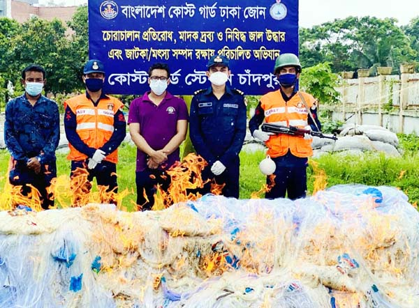 Bangladesh Coastguard seizes huge current net worth about Taka 7 crore and 18 lakh by conducting raid at two godowns and three shops at Jogipatti Old Market in Chandpur thana on Saturday.