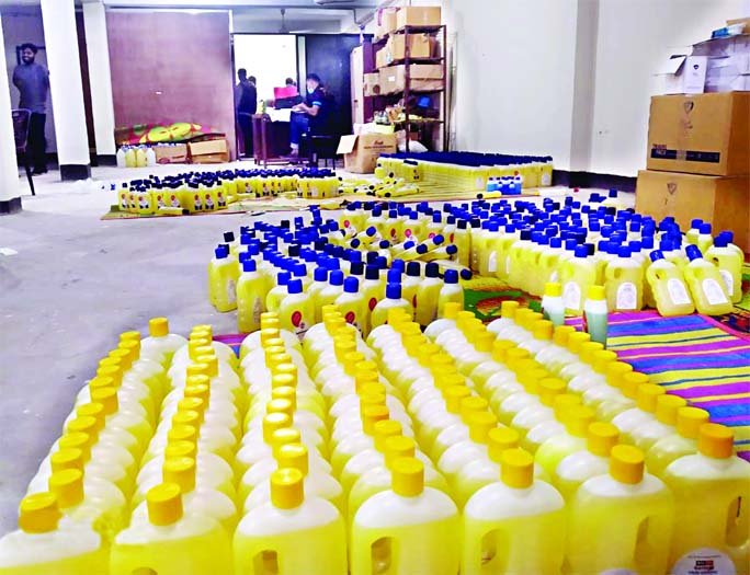 A RAB mobile court on Sunday seized a huge quantity of fake hand sanitizers conducting drive at a factory in the city's Mohammadpur area. The mobile court also fined its owner for his involvement in illegal activities.