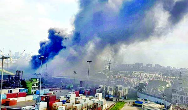 A devastating fire breaks out at No-3 Shed of Chattogram Port on Wednesday.