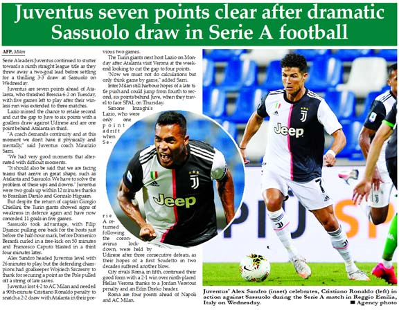 Juventus seven points clear after dramatic Sassuolo draw in Serie A football
