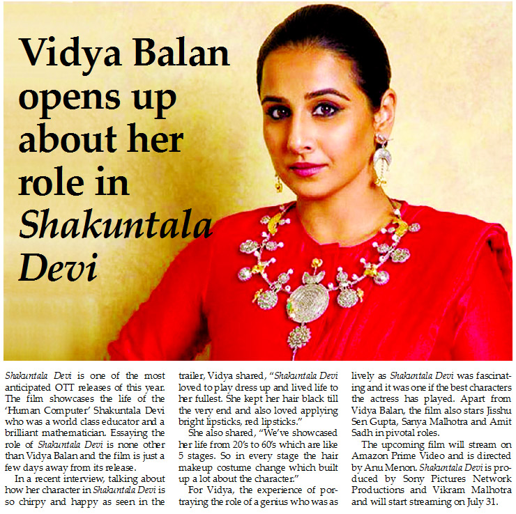 Vidya Balan opens up about her role in Shakuntala Devi