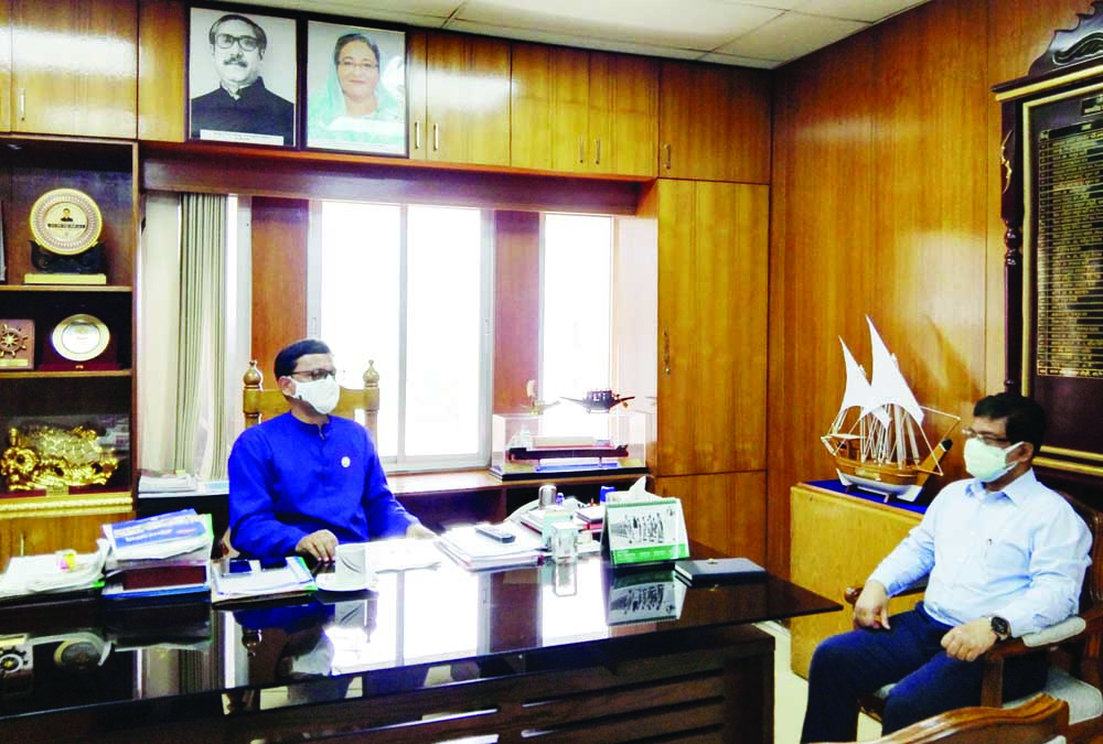 State Minister for Shipping Khalid Mahmud Chowdhury exchanges Eid-ul-Azha  greetings with the officials of the ministry at his office on Monday.