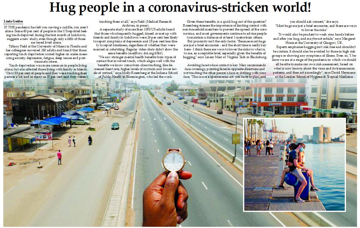 Hug people in a coronavirus-stricken world!