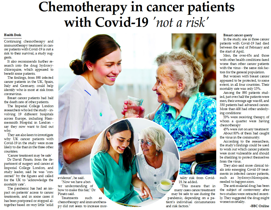 Chemotherapy in cancer patients with Covid-19 'not a risk'