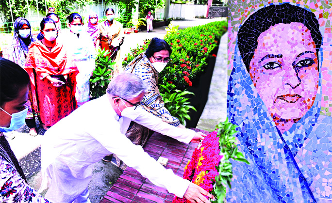 Dhaka University Vice-Chancellor Prof Dr  Md. Akhtaruzzaman places floral wreaths at the portrait of Bangamata at Sheikh Fazilatunnesa Mujib Hall of the university on Saturday marking her 90th birth anniversary.