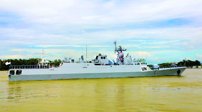 Bangladesh Naval Warship `Sangram` leaves Chattagram Naval Jetty on Sunday in order to join United Nations Peacekeeping Mission in Lebanon.