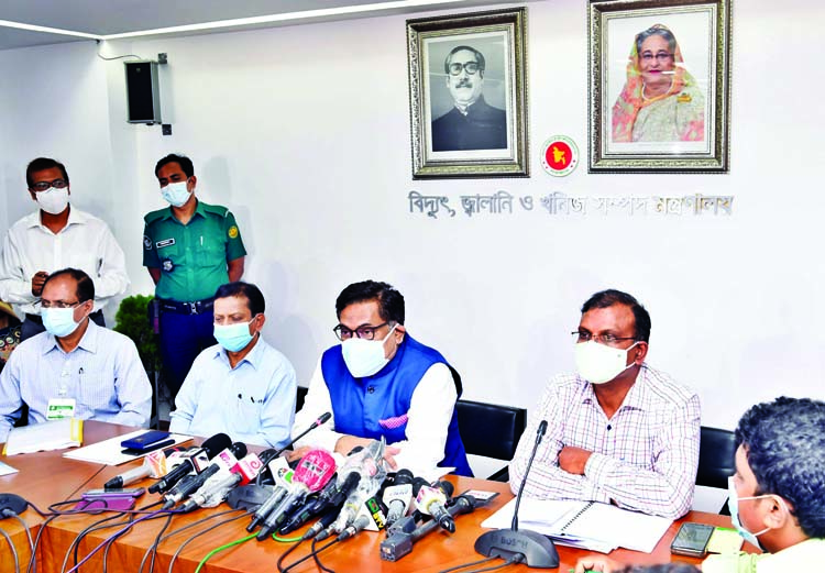 State Minister for Power, Energy and Mineral Resources Nasrul Hamid briefs  journalists on investigation report of Narayanganj mosque blast at the seminar room of the ministry on Thursday.