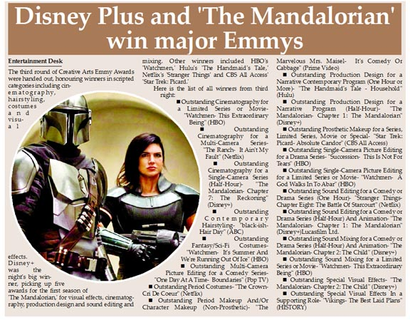 Disney Plus and 'The Mandalorian' win major Emmys