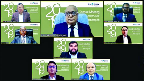 PFIL declares 12pc dividend: Phoenix Finance and Investments Limited declared 6 per cent cash and 6 per cent stock dividend (Bonus Share) to its shareholders for the year ended on 31 December, 2019. The 25th Annual General Meeting (AGM) of the company was held on Thursday through digital platform and took the decision of dividend, said a press release. Azizur Rahman, Chairman of the company presided over the meeting and a large number of the shareholders attended. Md. Jamirul Islam, Dost Mohammad, Md. Rafiqur Rahman and Rakibul Islam Khan, Nominee Directors, Reshad Imam, Independent Director, SM Intekhab Alam, Managing Director, Mohammad Sayduzzaman, Deputy Managing Director and Company Secretary along with other executives of the company also attended the AGM.
