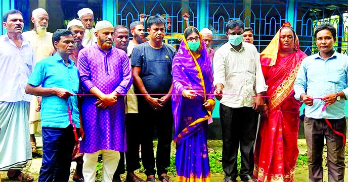 Farzana Sharmin Beauty, Panel Chairman of Mymensingh Zilla Parishad, inaugurates Moyahazaribari Pangegana at Bagta Union in Fulbaria upazila on Saturday.