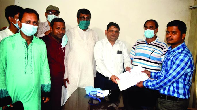 Mafiz Uddin, chairman candidate of 4 No Balion Union by-election submits his nomination paper to the Returning Officer Fulbaria upazila of Mymensingh District.