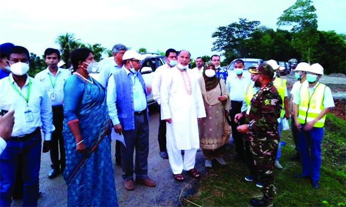 Railways Minister Nurul Islam Sujon visits the ongoing Padma Bridge Railway Link Protect at Lohagarah upazila of Narail district on Thursday. Among others, Deputy Commissioner of Narail Anjuman Ara and SP Jashim Uddin accompanied him during his visit.