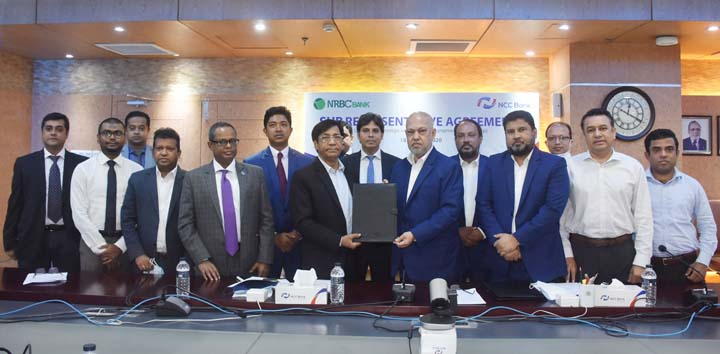 Khondoker Nayeemul Kabir, Managing Director (CC) of NCC Bank Limited and Md. Mukhter Hossain, Managing Director and CEO of NRBC Bank Limited, exchanging agreement signing document at NRBC Bank head office on Sunday. Under the deal, NRBC Bank will be able to pay the foreign remittance as sub representative of NCC Bank from its affiliated MTOs. Top officials from both sides were also present.