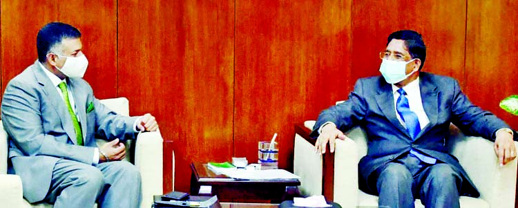 Newly appointed Indian High Commissioner to Bangladesh Vikram Kumar Doraiswami calls on Agriculture Minister Dr. Abdur Razzaque at the latter's office of the Ministry on Wednesday.