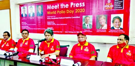 Rotary Bangladesh National Polio Plus Committee Chairman Dr. Ishtiaque A. Zaman speaks at Meet the Press on the occasion of World Polio Day 2020 at the Jatiya Press Club on Friday.